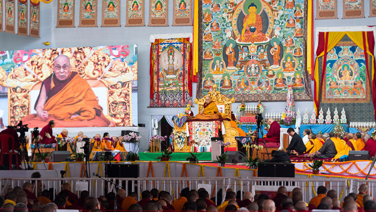 A view of the stage at the Kalachakra Ground during His Holiness the Dalai Lama's teaching in Bodhgaya, Bihar, India on January 2, 2020. Photo by Tenzin Choejor