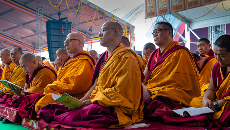 Senior monastics sitting on stage following His Holiness the Dalai Lama's teaching at the Kalachakra Ground in Bodhgaya, Bihar, India on January 2, 2020. Photo by Tenzin Choejor