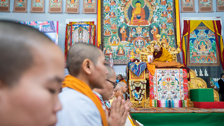 Monks and nuns from Vietnam reciting the 'Heart Sutra' in Vietnamese before His Holiness the Dalai Lama gave the Avalokiteshvara Empowerment at the Kalachakra Ground in Bodhgaya, Bihar, India on January 3, 2020. Photo by Tenzin Choejor