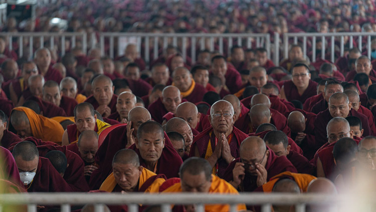 Monastics in the crowd taking the bodhisattva vows from His Holiness the Dalai Lama at the Kalachakra Ground in Bodhgaya, Bihar, India on January 3, 2020. Photo by Tenzin Choejor