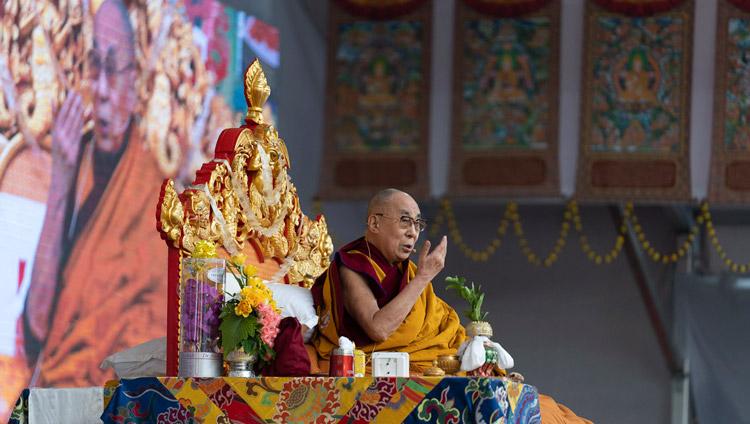 His Holiness the Dalai Lama speaking before starting the Avalokiteshvara Empowerment at the Kalachakra Ground in Bodhgaya, Bihar, India on January 3, 2020. Photo by Tenzin Choejor
