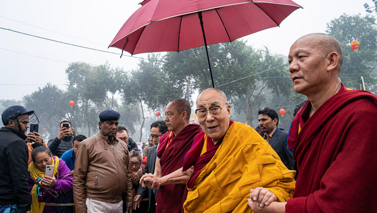 His Holiness the Dalai Lama walking to the Kalachakra Ground in Bodhgaya, Bihar, India on January 4, 2020. Photo by Tenzin Choejor