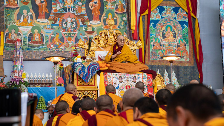 His Holiness the Dalai Lama addressing the crowd before resuming the Manjushri Cycle of Teachings at the Kalachakra Ground in Bodhgaya, Bihar, India on January 4, 2020. Photo by Tenzin Choejor