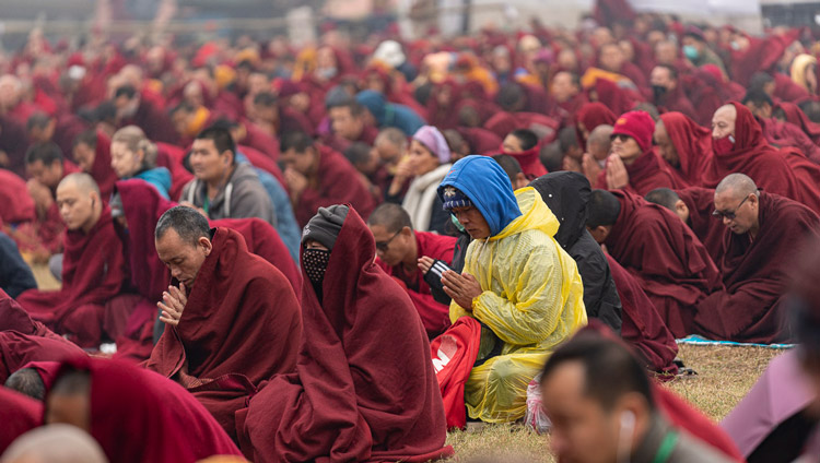 Members of the crowd listening to His Holiness the Dalai Lama as he resumes the Manjushri Cycle of Teachings at the Kalachakra Ground in Bodhgaya, Bihar, India on January 4, 2020. Photo by Tenzin Choejor