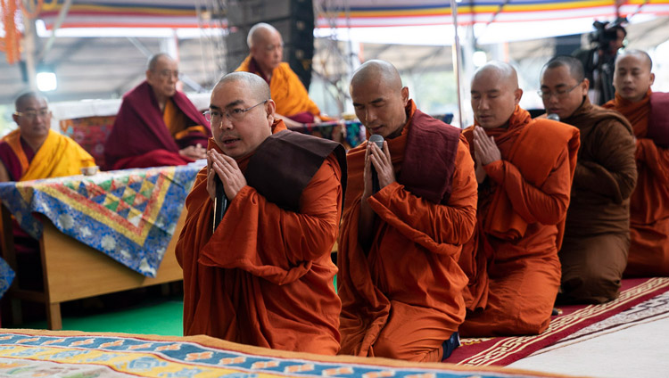 Burmese monks reciting part of the 'Mangala Sutta' in Pali before the start of His Holiness the Dalai Lama's teaching at the Kalachakra Ground in Bodhgaya, Bihar, India on January 5, 2020. Photo by Tenzin Choejor