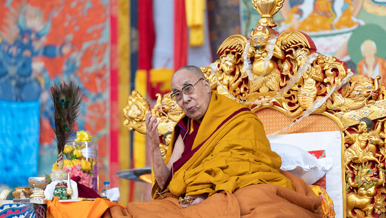 His Holiness the Dalai Lama addressing the crowd at the Kalachakra Ground in Bodhgaya, Bihar, India on January 5, 2020. Photo by Tenzin Choejor