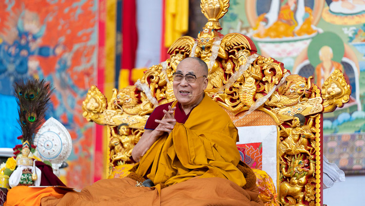His Holiness the Dalai Lama addressing the crowd on the final day of his teachings at the Kalachakra Ground in Bodhgaya, Bihar, India on January 6, 2020. Photo by Tenzin Choejor