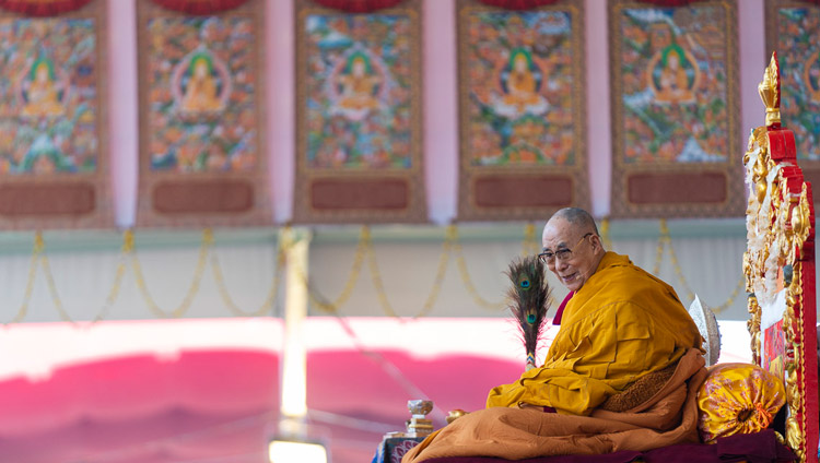 His Holiness the Dalai Lama on the final day of his teachings at the Kalachakra Ground in Bodhgaya, Bihar, India on January 6, 2020. Photo by Tenzin Choejor
