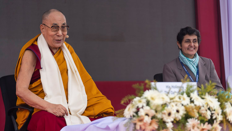 His Holiness the Dalai Lama responding to a question from the audience during his talk at the Indian Institute of Management in Bodhgaya, Bihar, India on January 14, 2020. Photo by Lobsang Tsering