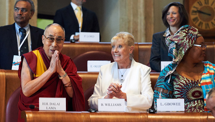 His Holiness the Dalai Lama and Betty Williams at the 14th World Summit of Peace Laureates in Rome, Italy on December 14, 2014. Photo by Olivier Adam