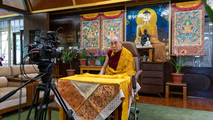His Holiness the Dalai Lama speaking to viewers around the world live from his residence in Dharamsala, HP, India on May 16, 2020. Photo by Ven Tenzin Jamphel