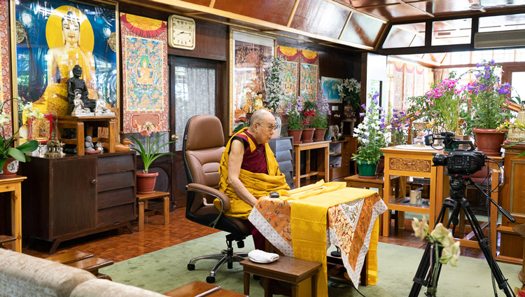 His Holiness the Dalai Lama addressing the audience watching his live teaching from his residence in Dharamsala, HP, India on May 16, 2020. Photo by Ven Tenzin Jamphel