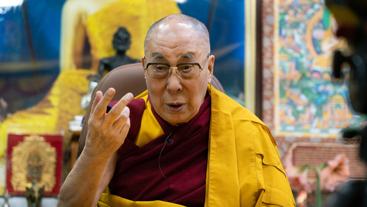 His Holiness the Dalai Lama during his live teaching to views around the world from his residence in Dharamsala, HP, India on May 16, 2020. Photo by Ven Tenzin Jamphel
