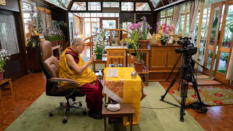 His Holiness the Dalai Lama at his speaking live to a world wide audience from his residence in Dharamsala, HP, India on May 17, 2020. Photo by Ven Tenzin Jamphel