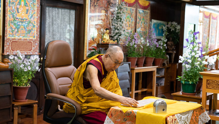 "His Holines the Dalai Lama reading from Nagarjuna's ""Precious Garland"" on the second day of teachings from his residence in Dharamsala, HP, India on May 17, 2020. Photo by Ven Tenzin Jamphel"