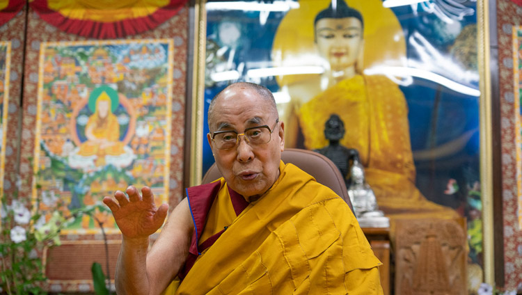 "His Holiness the Dalai Lama speaking on the second day of his teaching on Nagarjuna's ""Precious Garland"" at his residence in Dharamsala, HP, India on May 17, 2020. Photo by Ven Tenzin Jamphel"
