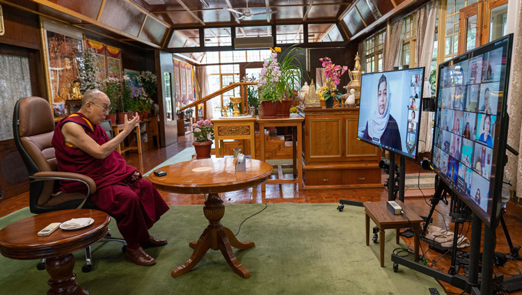 His Holiness the Dalai Lama answering a question from one of the participants during his dialogue by video conference with young people from South-east Asia from his residence in Dharamsala, HP, India on June 7, 2020. Photo by Ven Tenzin Jamphel