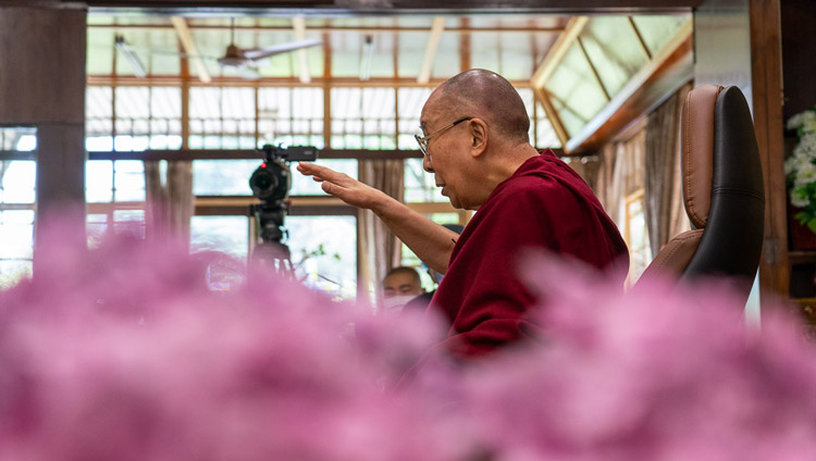 His Holiness the Dalai Lama speaking live to a world wide audience during the conversation with Pico Iyer from his residence in Dharamsala, HP, India on June 17, 2020. Photo by Ven Tenzin Jamphel