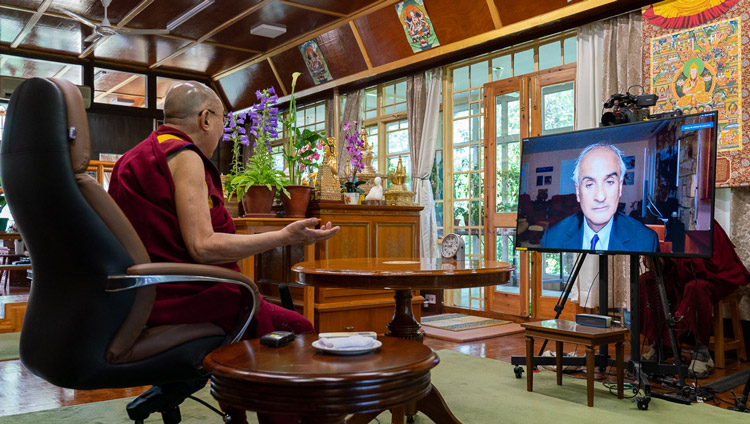 His Holiness the Dalai Lama in conversation with Pico Iyer by video conference from his residence in Dharamsala, HP, India on June 17, 2020. Photo by Ven Tenzin Jamphel