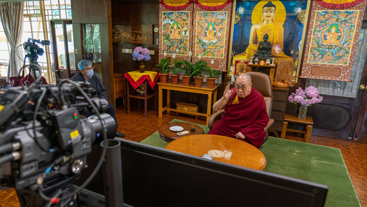 His Holiness the Dalai Lama speaking with Pico Iyer during their conversation by video conference organized by the Jaipur Literature Festival (JLF) from his residence in Dharamsala, HP, India on June 17, 2020. Photo by Ven Tenzin Jamphel