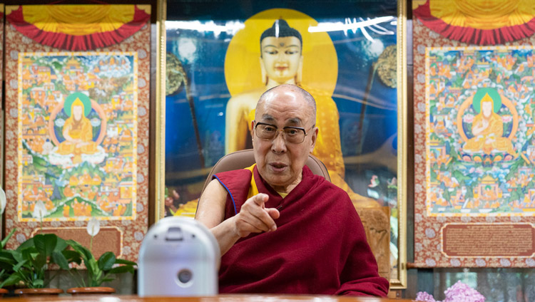 His Holiness the Dalai Lama gestures as he speaks with Pico Iyer by video conference from his residence in Dharamsala, HP, India on June 17, 2020. Photo by Ven Tenzin Jamphel