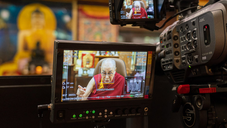 The view from the camera of His Holiness the Dalai Lama speaking with Pico Iyer by video conference from his residence in Dharamsala, HP, India on June 17, 2020. Photo by Ven Tenzin Jamphel