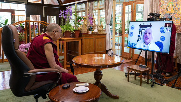 Sanjoy Roy of the Jaipur Literature Festival (JLF) introducing the program with His Holiness the Dalai Lama by video conference from his residence in Dharamsala, HP, India on June 17, 2020. Photo by Ven Tenzin Jamphel