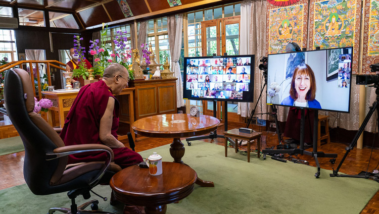 Susan Bauer-Wu, President of the Mind & Life Institute introducing the Mind & Life Conversation with His Holiness the Dalai Lama by video conference from his residence in Dahramsala, HP, India on June 20, 2020. Photo by Ven Tenzin Jamphel
