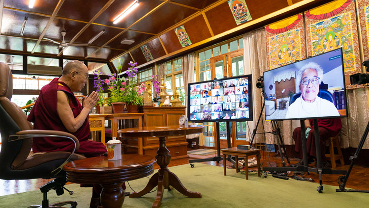 Moderator of the Mind & Life Conversation Carolyn Jacobs, Dean Emerita, Smith College School for Social Work, asking His Holiness the Dalai Lama a question by video conference at his residence in Dahramsala, HP, India on June 20, 2020. Photo by Tenzin Phuntsok