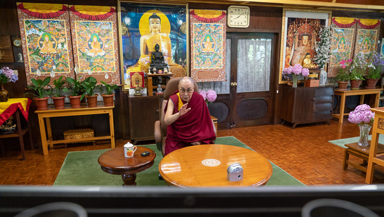 "His Holiness the Dalai Lama speaking during the ""Mind & Life Conversation: Resilience, Compassion, & Science for Healing Today"" from his residence in Dharamsala, HP, India on June 20, 2020. Photo by Ven Tenzin Jamphel"