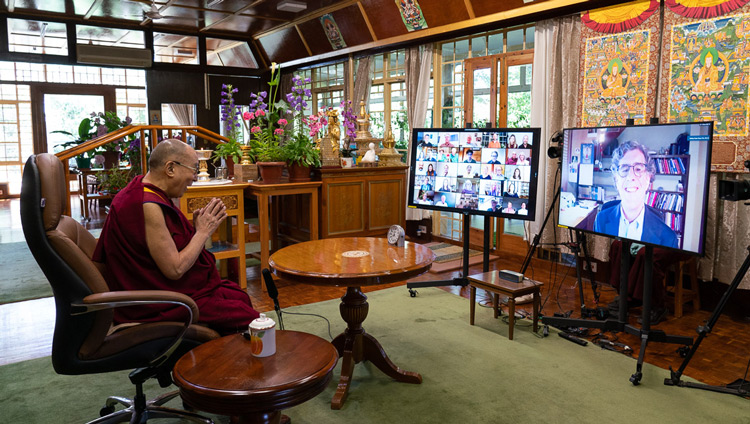 Richie Davidson, Founder and Director of the Center for Healthy Minds and Professor of Psychology, University of Wisconsin-Madison speaking by video conference to His Holiness the Dalai Lama at his residence in Dharamsala, HP, India during the Mind & Life Conversation on June 20, 2020. Photo by Ven Tenzin Jamphel