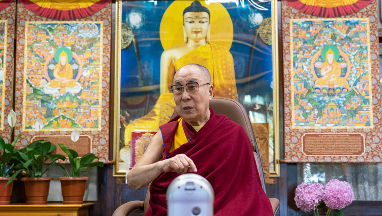 His Holiness the Dalai Lama making a point during the Mind & Life Conversation by video conference from his residence in Dharamsala, HP, India on June 20, 2020. Photo by Ven Tenzin Jamphel