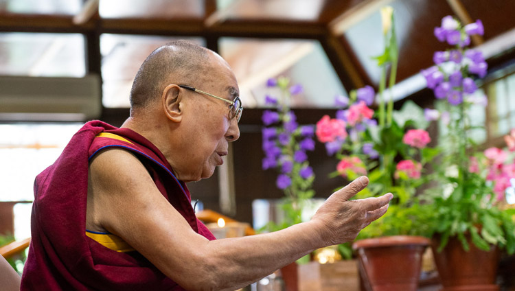 "His Holiness the Dalai Lama speaking during the ""Mind & Life Conversation: Resilience, Compassion, & Science for Healing Today"" by video conference from his residence in Dharamsala, HP, India on June 20, 2020. Photo by Ven Tenzin Jamphel"