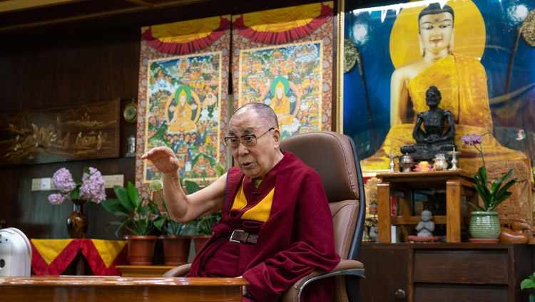 His Holiness the Dalai Lama speaking Gaur Gopal Das by video link from his residence in Dharamsala, HP, India on July 14, 2020. Photo by Ven Tenzin Jamphel