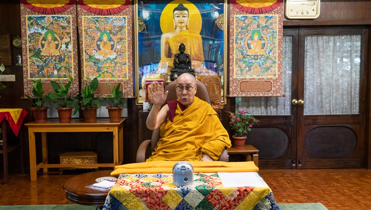 His Holiness the Dalai Lama speaking at the start of his teachings for the Nalanda Shiksha by video link from his residence in Dharamsala, HP, India on July 17, 2020. Photo by Ven Tenzin Jamphel