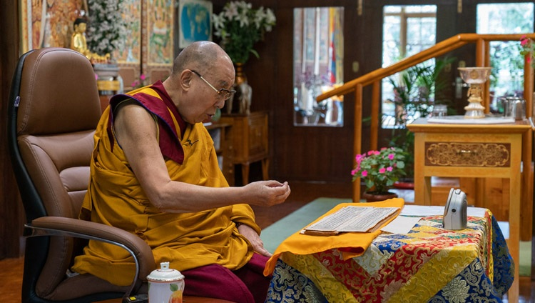 "His Holiness the Dalai Lama commenting on Chandrakirti's ""Entering the Middle Way"" on the first day of his three day teaching by video link from his residence in Dharamsala, HP, India on July 17, 2020."