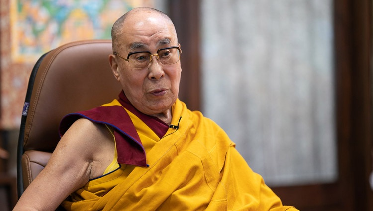 His Holiness the Dalai Lama speaking on the first day of his teaching requested by Nalanda Shiksha by video link from his residence in Dharamsala, HP, India on July 17, 2020. Photo by Tenzin Phuntsok