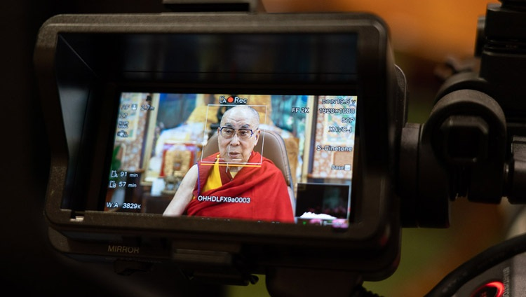 A view from the camera as His Holiness the Dalai Lama speaks to students from Indian educational institutions from his residence in Dharamsala, HP, India on July 29, 2020. Photo by Ven Tenzin Jamphel
