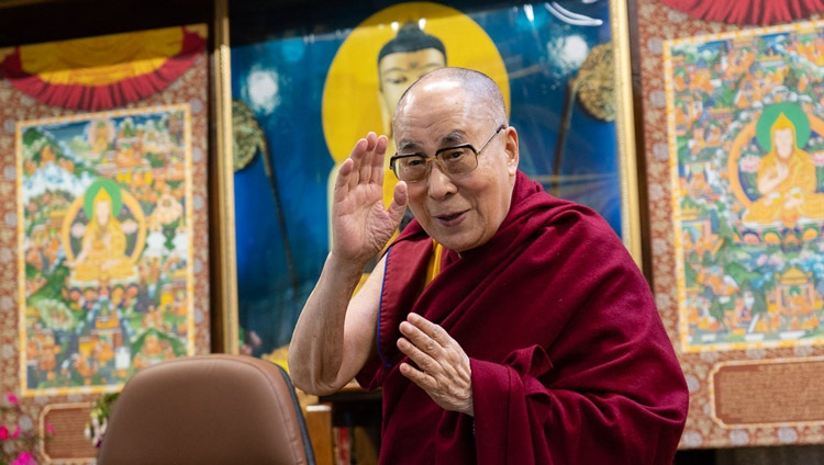 His Holiness the Dalai Lama waving to members of the virtual audience as he arrives for his talk on Secular Ethics in Modern Education by video link from his residence in Dharamsala, HP, India on August 25, 2020. Photo by Ven Tenzin Jamphel