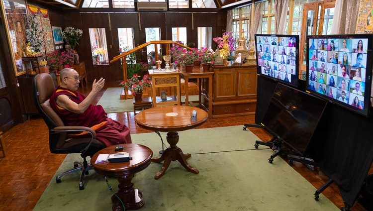 His Holiness the Dalai Lama speaking on Secular Ethics in Modern Education to members of Mind Mingle by video link from his residence in Dharamsala, HP, India on August 25, 2020. Photo by Ven Tenzin Jamphel