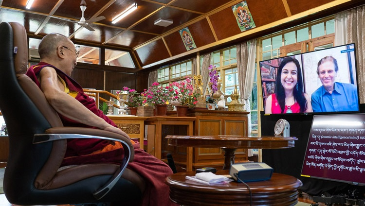 His Holiness the Dalai Lama answering a question from a member of the virtual audience during his talk on Secular Ethics in Modern Education from his residence in Dharamsala, HP, India on August 25, 2020. Photo by Ven Tenzin Jamphel
