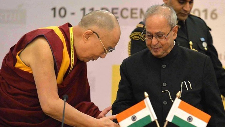 His Holiness the Dalai Lama and President of India Pranab Mukherjee at the Laureates and Leaders for Children Summit at the Rashtrapati Bhavan Cultural Centre in New Delhi, India on December 10, 2016.