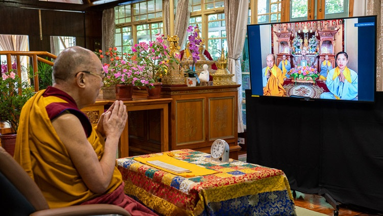 Nuns in Vietnam reciting the Heart Sutra at the start of His Holiness the Dalai Lama's second day of teachings requested by Asian Buddhists by video link from his residence in Dharamsala, HP, India on September 5, 2020. Photo by Ven Tenzin Jamphel