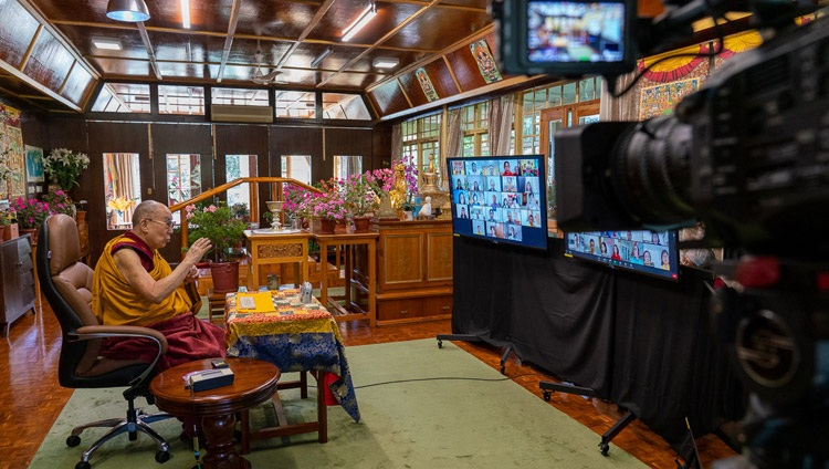 His Holiness the Dalai Lama addressing the virtual audience on the second day of teachings by video link from his residence in Dharamsala, HP, India on September 5, 2020. Photo by Ven Tenzin Jamphel