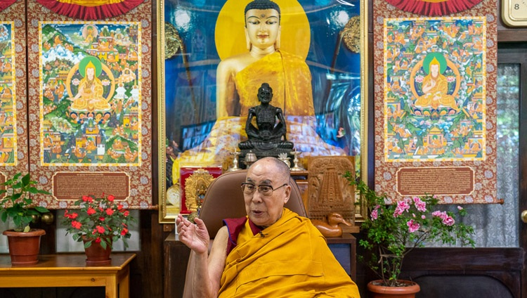 His Holiness the Dalai Lama speaking on the second day of teachings requested by Asian Buddhists by video link from his residence in Dharamsala, HP, India on September 5, 2020. Photo by Ven Tenzin Jamphel