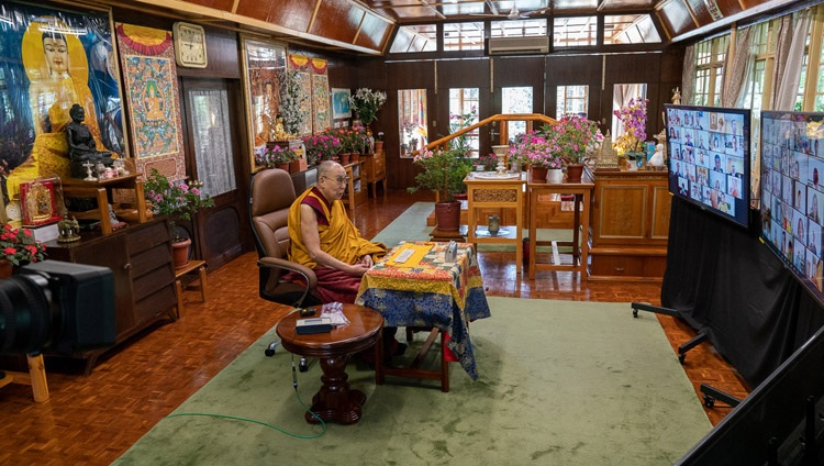 His Holiness the Dalai Lama addressing the virtual audience of Asian Buddhists on the third day of teachings by video link from his residence in Dharamsala, HP, India on September 6, 2020. Photo by Ven Tenzin Jamphel