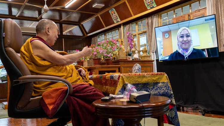 His Holiness the Dalai Lama answering a question from a member of the virtual audience on the third day of teachings by video link from his residence in Dharamsala, HP, India on September 6, 2020. Photo by Ven Tenzin Jamphel