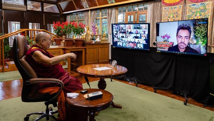 His Holiness the Dalai Lama in conversation with Eugenio Derbez by video link from his residence in Dharamsala, HP, India on September 22, 2020. Photo by Ven Tenzin Jamphel