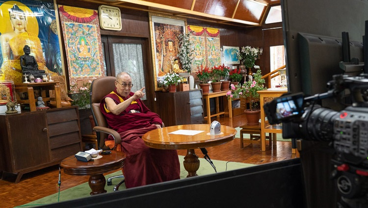 His Holiness the Dalai Lama joining Eugenio Derbez for a virtual conversation on Happiness, Humor and Compassion by video link from his residence in Dharamsala, HP, India on September 22, 2020. Photo by Ven Tenzin Jamphel