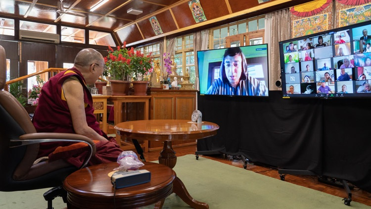 A member of the audience asking His Holiness the Dalai Lama a question during the conversation on Compassion and Mercy — Common Values between Islam and Buddhism from his residence in Dharamsala, HP, India on September 28, 2020. Photo by Ven Tenzin Jamphel